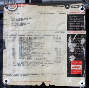 1966 Dodge Charger front left side original price sticker